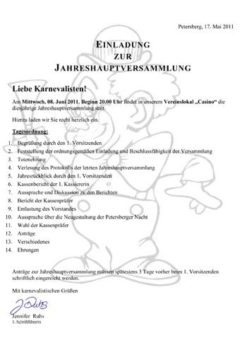 jahreshauptversammlung 2011 : carnevalverein petersberg e.v., Einladung