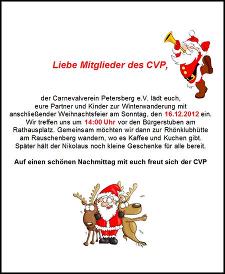 Einladung Weihnachtsfeier Verein.Winterwanderung Und Weihnachtsfeier Carnevalverein